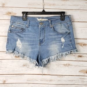 Altered state denim distressed booty shorts